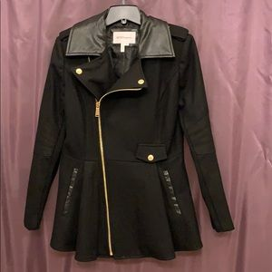 BCBG Peacoat with Gold and Leather Trim
